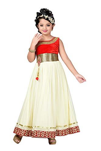 Aarika Girl's Self Design Net Fabric Party Wear Ball Gown (G-2820-BUTTER_28_7-8 Years) by Aarika