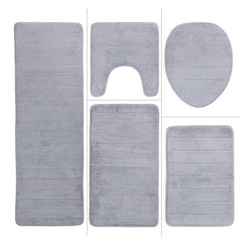 Bath mat sets 3 piece gray - Trenters.com