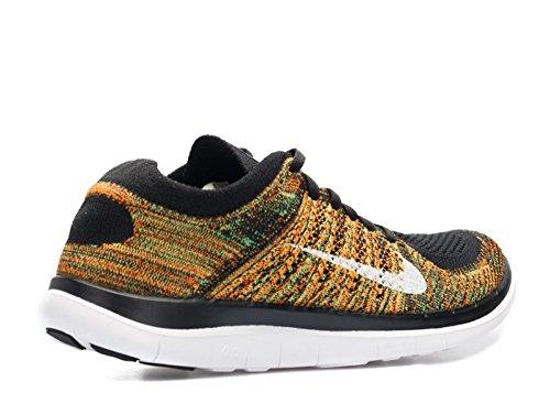 Nike Hombres Free Flyknit 4.0 Negro, Blanco-psn Verde-ttl Orng
