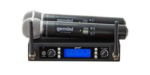 Gemini UHF Series UHF-6200M Professional Audio Dual Channel Wireless Microphone System with 2 Handheld Microphones, Multi-Selectable Frequencies, LCD Display, 240ft Range