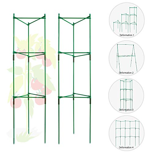 Tomato Cages and Supports Deformable Multi-Functional Tomato Trellis Assembled Garden Stakes Climbing Plant Support 2 Pack