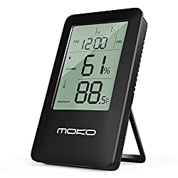 Digital Hygrometer Thermometer, MoKo Multifunctional 2-in-1 Wireless Indoor Temperature Meter Humidity Monitor Sensor Electronic LCD Screen with Time Display and Built-in Backlight Alarm Clock - BLACK