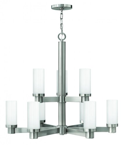 Hinkley 4978BN Transitional Nine Light Foyer from Midtown collection in Pwt, Nckl, B/S, - Lighting Chandelier Hinkley Contemporary