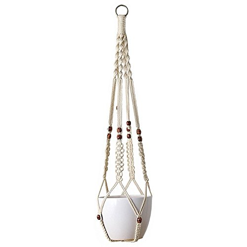 Mkono Macrame Plant Hanger Indoor Outdoor Hanging Planter Basket Cotton Rope With Beads 35 Inch (Macrame Basket)