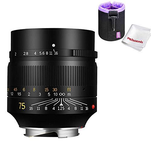 7artisans 75mm F1.25 Full Frame Manual Fixed Lens for Leica M-Mount Cameras Leica M-M M240 M3 M6 M7 M8 M9 M9p M10, W Lens Pouch Bag