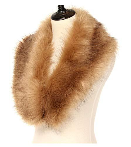 La Carrie Women's Faux Fur Collar Scarf Wrap Cold Winter Warmer(Brown)