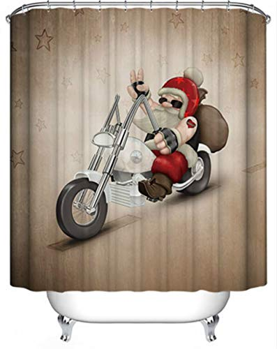 Shower Curtain, Route 66 Wild Biker Santa Claus Motorcycle Bathroom Shower Door Decor, HD Fabric Bath Curtain Hooks, Water-Proof Mold-Free 70 by 70 Inch Brown Red ()