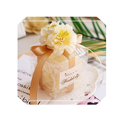 (50Pcs/Lot Romantic Candy Boxes PVC Transparent Wedding Gift Box Baby Shower Boy Girl Favor Boxes Packaging Bag Party Supplies,Champagne 50Pcs,6X6X6Cm)