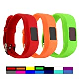 For Garmin Vivofit 3 and Vivofit JR, Dunfire Colorful Accessory Wristbands And Clip Case For Garmin Vivofit 3 and Vivofit JR (3PCS - RED&ORANGE&GREEN, Small For Kids)