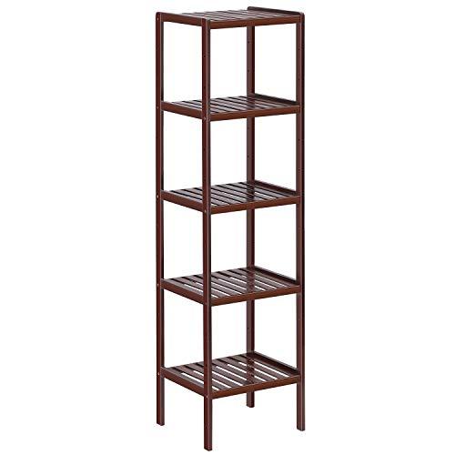(Bamboo Bathroom Shelf, 5-Tier Multifunctional Storage Rack Brown, Plant Flower Display Stand for Narrow Space, Living Room, Bedroom, Kitchen)