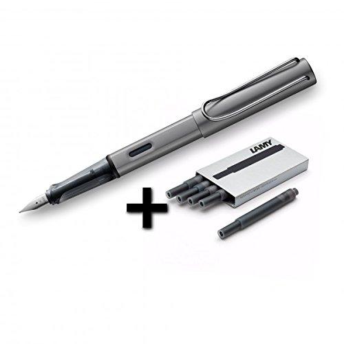 - Lamy AL-Star Fountain Pen (26M) Graphite & 5 Black Ink Cartridges