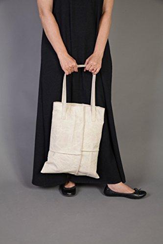 Handmade Shoulder Handbag Leather Tote, Hand Stitched Off-White Leather Tote Bag (Stitched Pocket Hobo)