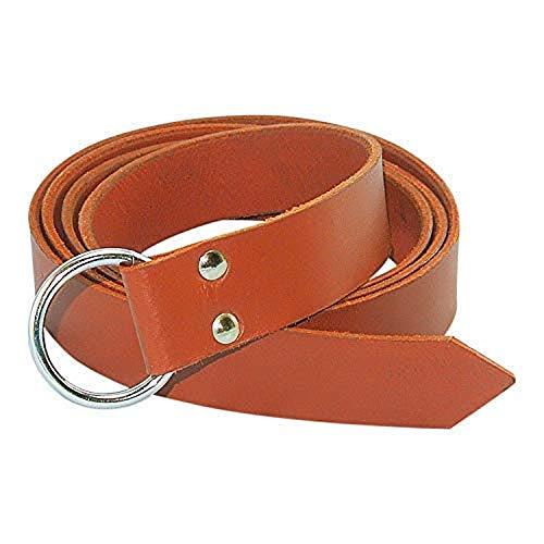 Mythrojan leather belt with Steel Ring Viking LARP leather belt 170 cm long ()