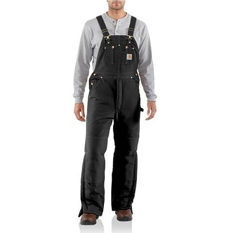 Carhartt Men's Duck Bib Overall - Arctic Quilt Lined - Black 34x34
