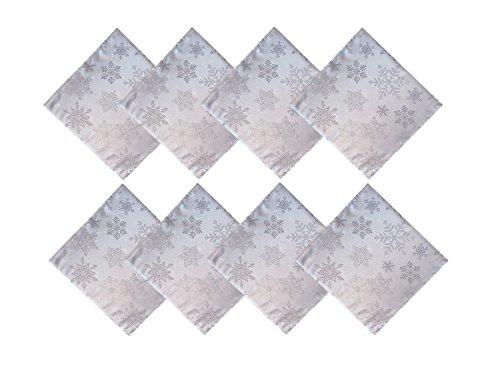 Newbridge Metallic Snowflake Christmas No-Iron Soil Resistant Fabric Holiday Napkin - Set of 8 Napkins, White/Silver