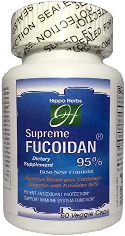 Hippo Herbs Supreme Fucoidan 95% Supplement with Mozuku Extract 289.5mg Agaricus Blazei 150mg Cordyceps Sinensis 50mg (60 Veggie Caps) Super Antioxidants Support Immune System Health
