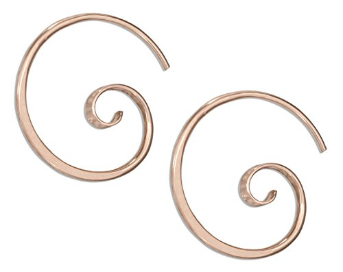 14 Karat Rose Gold Filled 24mm Curly Spiral Threader Wire Hoop Earring (Filled Gold Earrings Spiral)