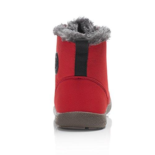 Dannto Snow Boots High Top Impermeabile Outdoor Pelliccia Foderato Inverno Caldo Scarpe Stivaletti Alla Caviglia Per Uomo Donna Rosso