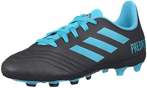 adidas Unisex-Kid's Predator 19.4 Firm Ground Soccer Shoe, Black/Bright Cyan/Solar Yellow, 1 M US Little Kid