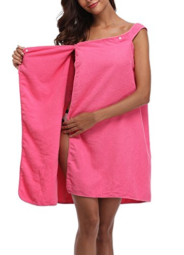 Coser Paradise Women's Spa Bath Towel Wrap with Snaps, Shower Robe with Straps Rose Red
