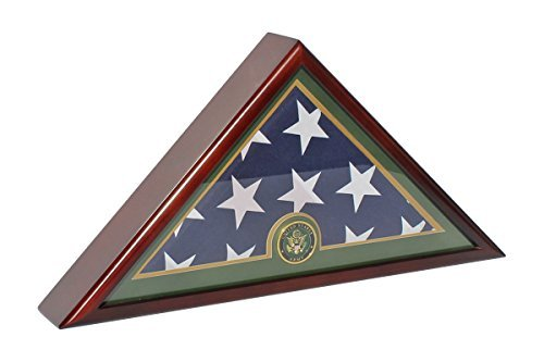 DisplayGifts Case Display for Memorial Burial Flag 5 X 9-Mahogany Finish (World Best Army Name)