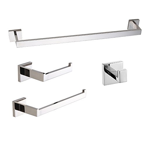 LuckIn Towel Bar Set Chrome Polish, Modern Bathroom Accessories Set Silver Hardware, Bath Towel Rack Set with Toilet Paper Holder (4 PCS)