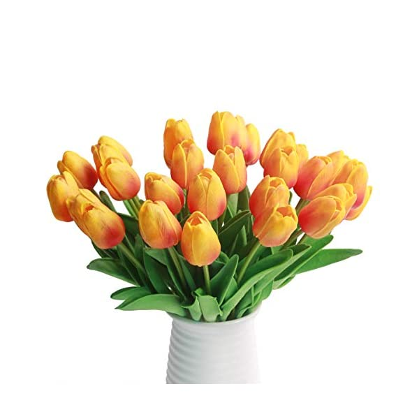 HANTAJANSS 24 Pcs Artificial Tulip Fake Holland Mini Tulip Latex-Look Like Real Touch Flowers Eco-Friendly for Wedding Decor DIY Home Party Decoration Gift Pack