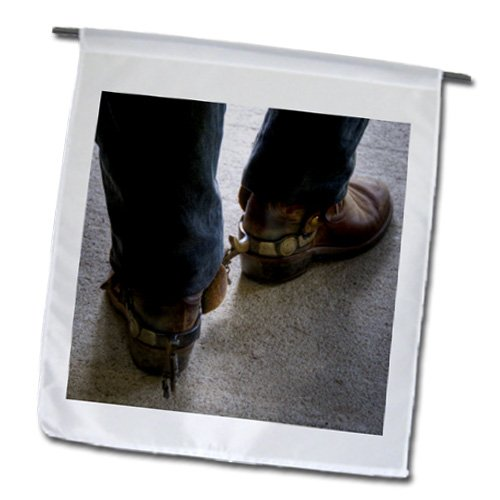 fl_98397_1 Roni Chastain Photography - man with cowboy boots with spurs - Flags - 12 x 18 inch Garden Flag