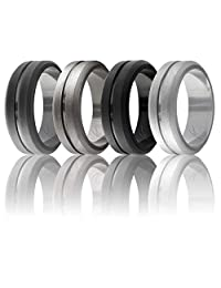 ROQ Silicone Ring for Men - Affordable Elegant Silicone Rubber Wedding Band - 4 Packs - Middle Engraved Line, Beveled Edges - Metalic & Matte Colors