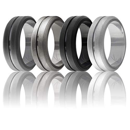 Ring for Men, Set of 4 Elegant, Affordable Silicone Rubber Wedding Bands, Brushed Top Beveled Edges -Black, Grey, Silver, Beveled Metalic Platinum - Size 16 ()