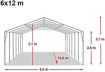 Carpa XXL pérgolas 6 x 12 m, calidad 550 g/m² feuersichere PVC lona según DIN EN verde de color blanco, 100% impermeable, vollverzinkte estructura de acero con verbolzung, aspecto Altura aprox. 2,