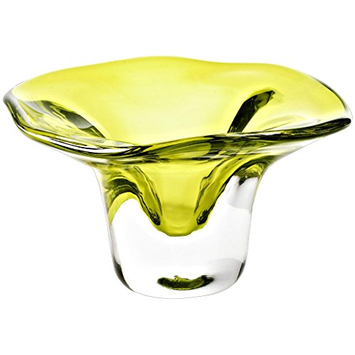 CRISTALICA Decorations, Decorative Footed Bowl, Collection Pavel, 13 cm, yellow, handmade, blown glass (ART GLASS powered by ()