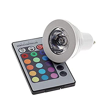 Lámpara LED GU10 3W, RGB + Mando a distancia. Bombilla Led GU 10 RGB colores con mando a distancia incluido: Amazon.es: Electrónica