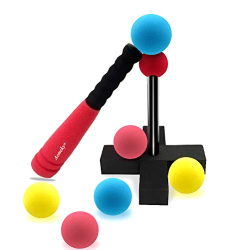 Aoneky Mini Foam Tball Set for Toddlers - Carry Bag Included - Best Baseball T Ball Toys for Kids Age 1 Years Old (Red)