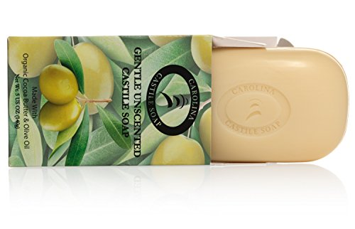 Organic Castile Bar Soap - Gentle Unscented with Cocoa Butter and Olive Oil - 5 oz bars (6 Pack)