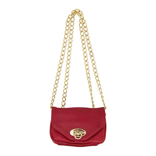 - Pietro Alessandro Bordeaux Lamb Leather Crossbody Clutch Mini Handbag
