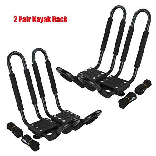 Tengchang 2 Pairs Universal Roof J-Bar Kayak Rack, Boat Canoe Car SUV Top Mounted Kayak Carrier with One Year Warranty