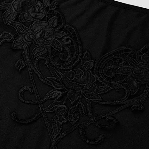Dentelle Printemps Chic Irrgulier Shirts pissure Branch Tshirts Manches BOLAWOO Haut Femme Nues Longues lgant paules Mode Creux V Shirt T Casual Schwarz Cou XvX0Axgq