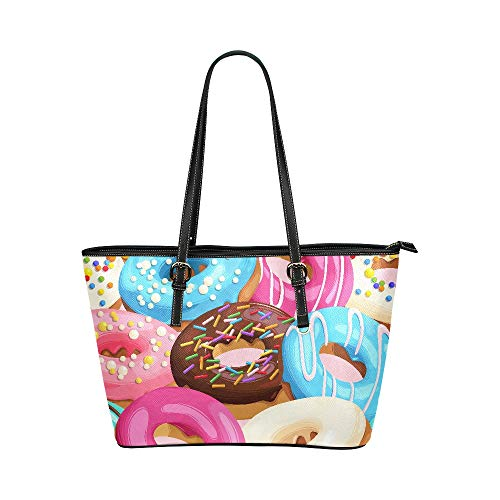 e Dessert Sugar Donut Large Soft Leather Portable Top Handle Hand Totes Bags Causal Handbags With Zipper Shoulder Shopping Purse Luggage Organizer For Lady Girls Womens Work ()