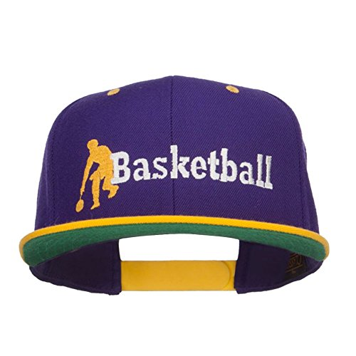 E4hats Basketball Player Embroidered Two Tone Snapback - Purple Gold OSFM (Gold Basketball Two Tone)