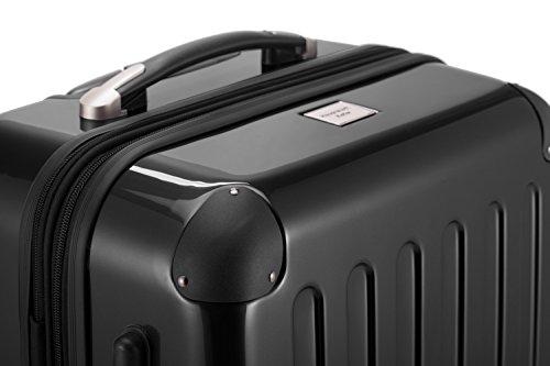 HAUPTSTADTKOFFER® Hartschalen Koffer · 3 Koffergrößen (42 Liter · 74 Liter · 119 Liter) · Hochglanz · Entweder mit Normalen oder TSA Zahlenschloss · SCHWARZ (42 Liter TSA Schloss)