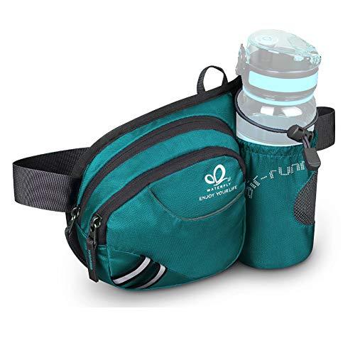 Waterfly Taille Fanny Pack, Taille Pack met Flessenhouder Waterafstotende Bum Bag Hond Wandelen Taille Tas (Turquoise)