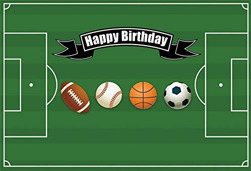 GoHeBe 9x6ft Kids Sports School Field Photography Background Boys Birthday Party Decor Soccer Baseball Basketball Football Grass Grassland Stadium Photography Video Wallpaper Photo Studio Props