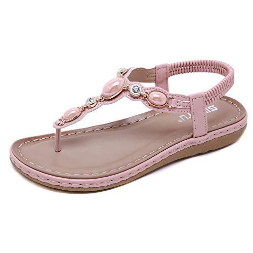 Meuricae Fun Women's Sandals Bosimia Water Drill Toe Clip Size Comfortable Beach Shoes Pink 38 ()