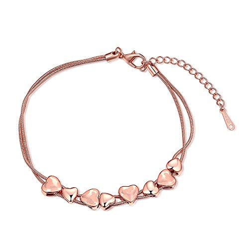 BLOOMCHARM Love Love Bracelets Hearts Pendant,Stylish Design Jewelry, Birthday Gifts for Women Girls