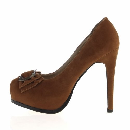 Damen Schuhe PUMPS HIGH HEELS PLATEAU MIT DEKO R2507A Synthetik in hochwertiger Velour Leder Optik