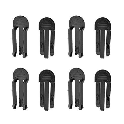Black Garbage Bag Clips Garbage Rubbish Trash Can Bag Clip Clamp Holder Rubbish Clip Large Kitchen Bags Clip Junk Clip Pack of 8 (Garbage Can Clips)