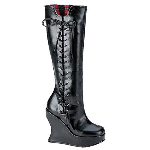 Demonia Bravo-100 - Gothic Punk Industrial Wedge-Plateau Stiefel 36-42