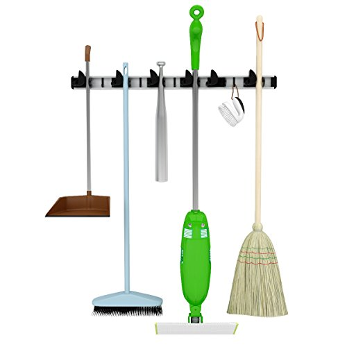 Mop, Broom & Tool Holder- Perfect in Garage Basement- Garden Tool Storage-Laundry Room Organization-Wall Mounted Aluminum Organizer- For Home & Commercial Use