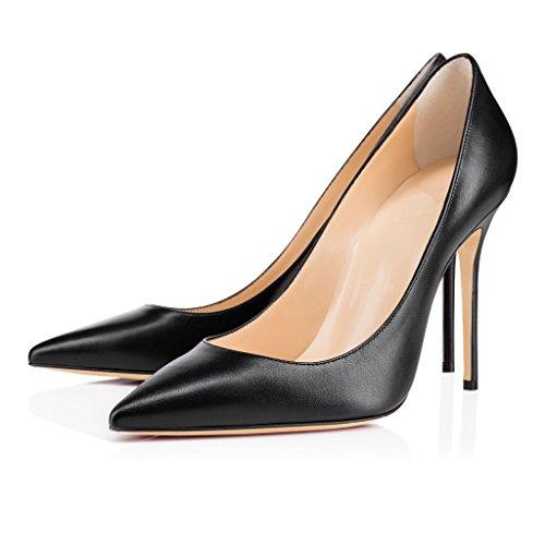 Chaussures Femmes Pointu Noir ELASHE Soir Sexy 10cm Bout Haut Chaussures Élégant Talon Fête Escarpins BxddnO7wqC